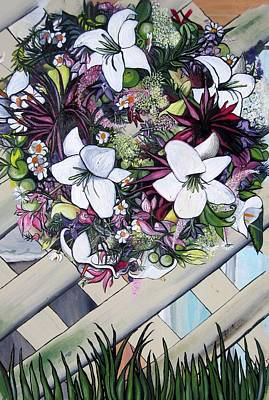 Floral Wreath Art Print by Mary Ellen Frazee
