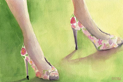 Painting - Flowered Shoes Fashion Illustration Art Print by Beverly Brown Prints