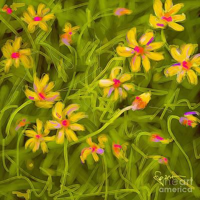 Print featuring the painting Flowerfield by Go Van Kampen