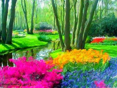 Creek Painting - Flowerful Park In The Spring by Bruce Nutting