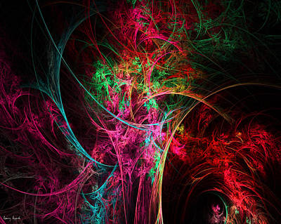 Color On Black Digital Art - Flowerful Vase by Lourry Legarde