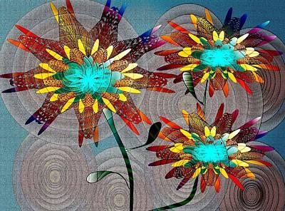 Drawing - Flowering Blooms by Iris Gelbart