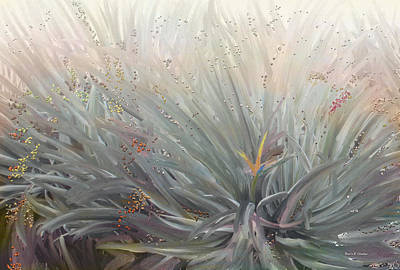 Flowering Bushes In The Fog Print by Angela A Stanton