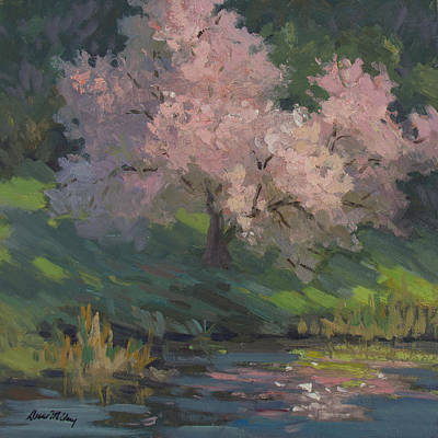 Cherry Tree Painting - Flowering Cherry by Diane McClary