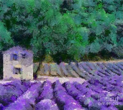 Provence Painting - Flowering Field Of Lavender by Dragica  Micki Fortuna