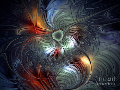 Flowering-floral Fractal Design Art Print