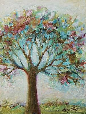Tangerine Painting - Flowering Tree by Mary Wolf