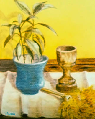 Table Cloth Drawing - Flowerpot Goblet And Featherduster by Teresa Ascone