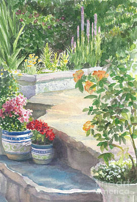 Flowerpots Around The Pool Art Print by Laura Sapko