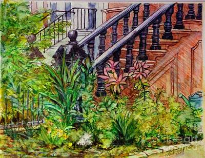 Flowers And Balustrade Eighth Street Art Print