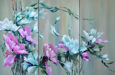 Flowers And Bamboo - Tryptych Art Print by Steven Nevada