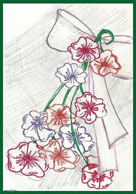 Floral Digital Art Digital Art Drawing - Flowers And Bow by Becky Sterling