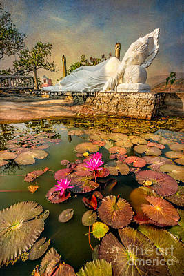 Wat Photograph - Flowers And Buddha by Adrian Evans
