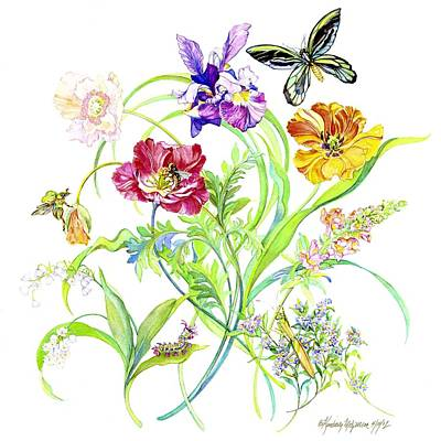 Caterpillars Painting - Flowers And Butterfly by Kimberly McSparran