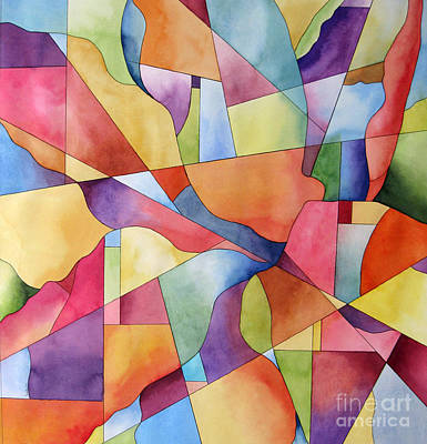 Flowers And Candy Geometric Abstract Original by Cherilynn Wood