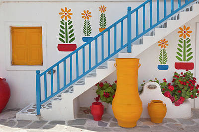 Mykonos Photograph - Flowers And Colorful Pots, Chora by Adam Jones