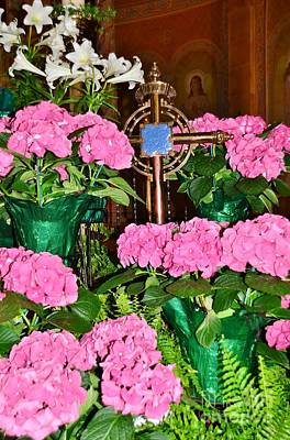 Flowers And Cross Art Print by Kathleen Struckle