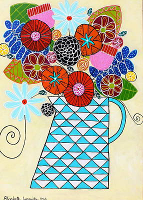 Painting - Flowers And Diamonds by Elizabeth Langreiter