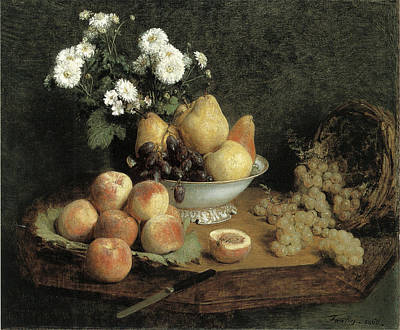 Flowers And Fruit On A Table Art Print by Henri Fantin-Latour