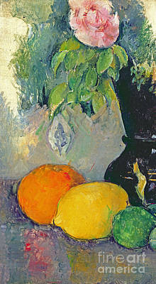 Lime Painting - Flowers And Fruits by Paul Cezanne