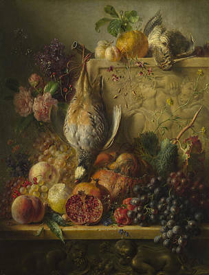 Os Painting - Flowers And Game by Georgius Jacobus Johannes van Os