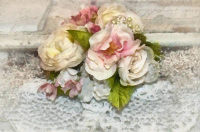 Flowers And Lace Art Print by Kathy Jennings