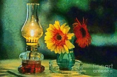 Flowers And Lamp Print by George Atsametakis