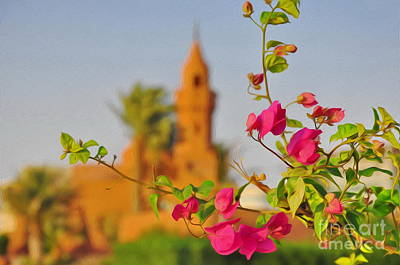 Photograph - Flowers And Mosque by George Paris
