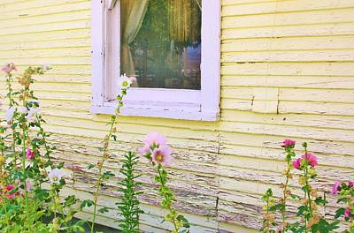 Photograph - Flowers And Peeling Paint by Marilyn Diaz