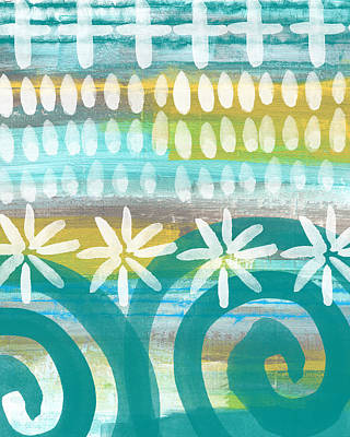 Flowers And Waves- Abstract Pattern Painting Art Print by Linda Woods