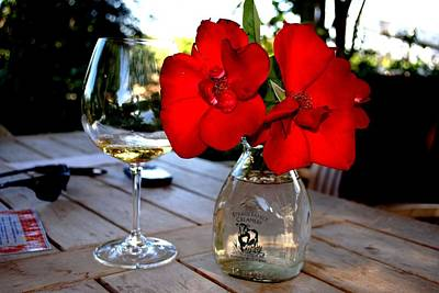 Photograph - Flowers And White Wine In Caneros by Ron Bartels