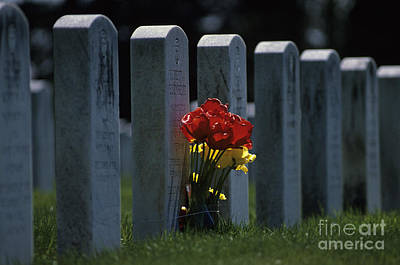 Photograph - Flowers At Grave Site by Jim Corwin