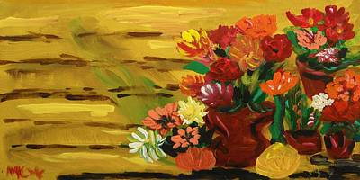 Primitive Raw Art Painting - Flowers At The Side Of The House by Mary Carol Williams