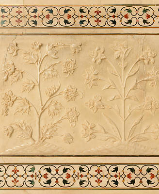 Photograph - Flowers Carved Into Taj Mahal by Brandon Bourdages