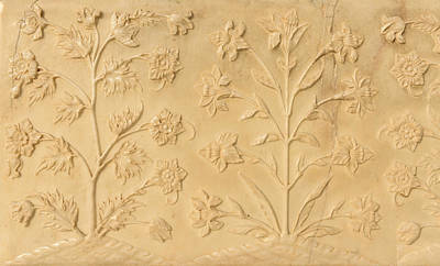 Photograph - Flowers Carved Into The Taj Mahal by Brandon Bourdages