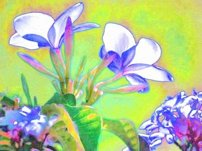 Painting - Flowers Edged In Periwinkle - Horizontal  by Lyn Voytershark