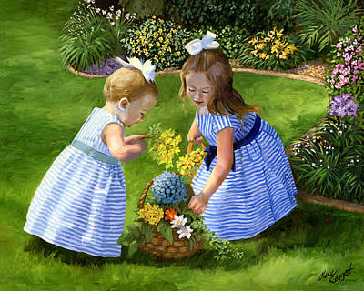 Wicker Painting - Flowers For Mama With Girls Garden Basket Bouquet by Alice Leggett