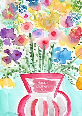 Flower Card Painting - Flowers For Mom- Mother's Day Card by Linda Woods
