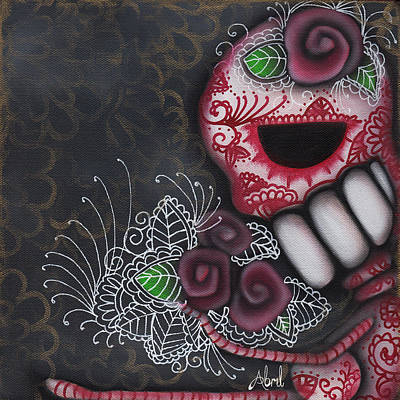 Pop Surrealism Painting - Flowers For The Dead II by  Abril Andrade Griffith