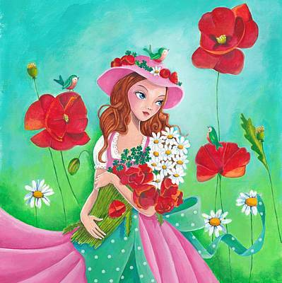 Flower Pink Fairy Child Painting - Flowers For You by Cartita Design