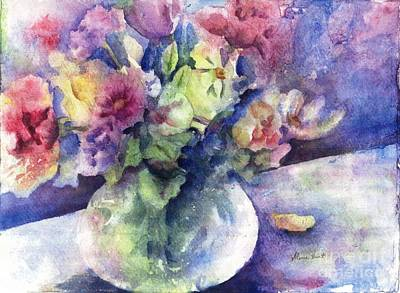 Flowers In Vase Painting - Flowers From The Imagination by Maria Hunt