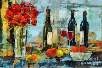 Flowers Fruit And Wine Print by Elizabeth Coats