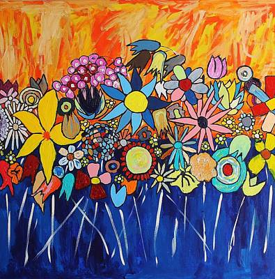 Painting - Flowers Getting Dressed Up To Go Out by Mark Watson