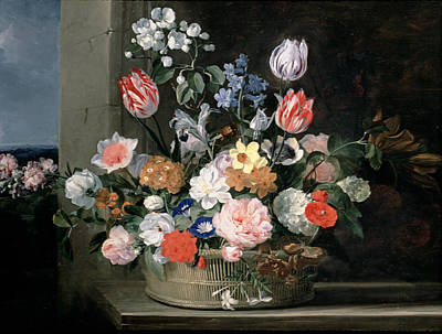 Daffodils Painting - Flowers In A Basket, 1650-56 by Jan van den Hecke