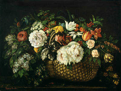 Courbet Painting - Flowers In A Basket, 1863 by Gustave Courbet