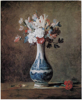 Flowers In A Blue And White Vase Print by Jean-Baptiste-Simeon Chardin