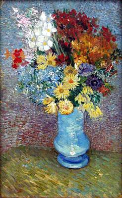 Flowers In A Blue Vase Art Print