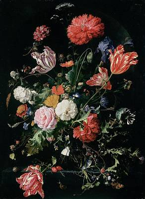 Grasshopper Painting - Flowers In A Glass Vase, Circa 1660 by Jan Davidsz de Heem