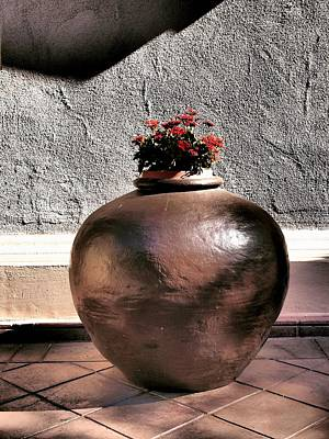 Olla Photograph - Flowers In A Pot by Bill Grolz