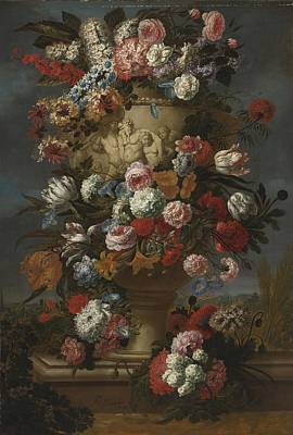 Baptist Painting - Flowers In A Sculpted Urn In A Landscape by Celestial Images